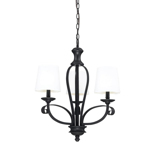 Charleston 25-inch Matte Black 3-light Chandelier