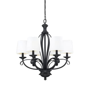 Charleston Matte Black and White Linen 6-light Chandelier
