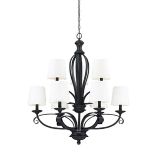 Charleston Matte Black and White Linen 9-light Chandelier