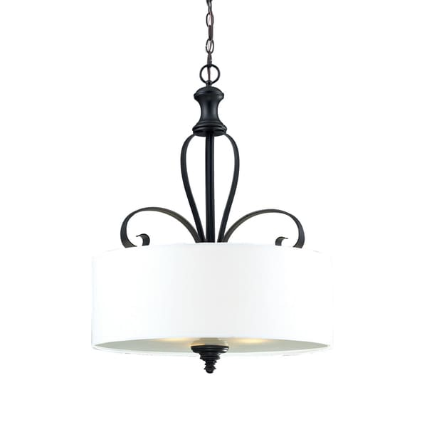 Charleston 3-light Matte Black Pendant