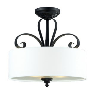 Charleston 3-light Matte Black Flush Mount