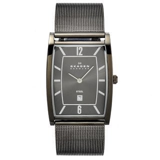 Skagen Men's Stainless Steel Rectangular Mesh Strap Watch