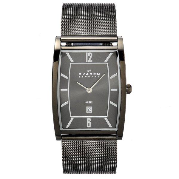 Skagen Men's Stainless Steel Rectangular Mesh Strap Watch