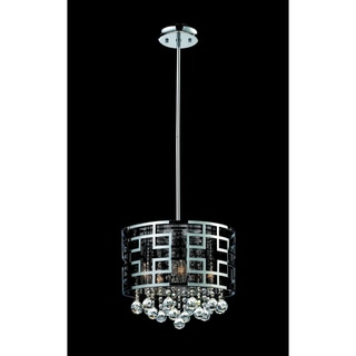 Mirach Chrome Six-Light Drum-Shade Crystal Chandelier
