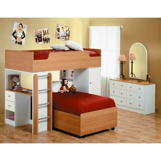 White/ Maple 3-piece Loft Bed with Desk and Drawers
