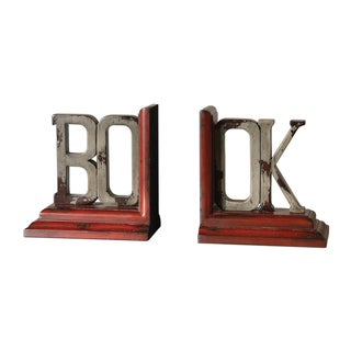 'Book' Distressed Burnt Red Bookends (Set of 2)