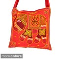 Hand-Embroidered Elephant Cross-Body Bag (India)