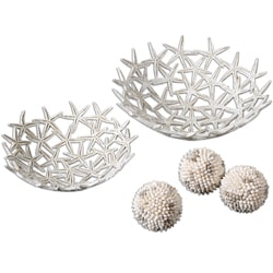 Decorative Starfish Bowls with Spheres (Set of 5)