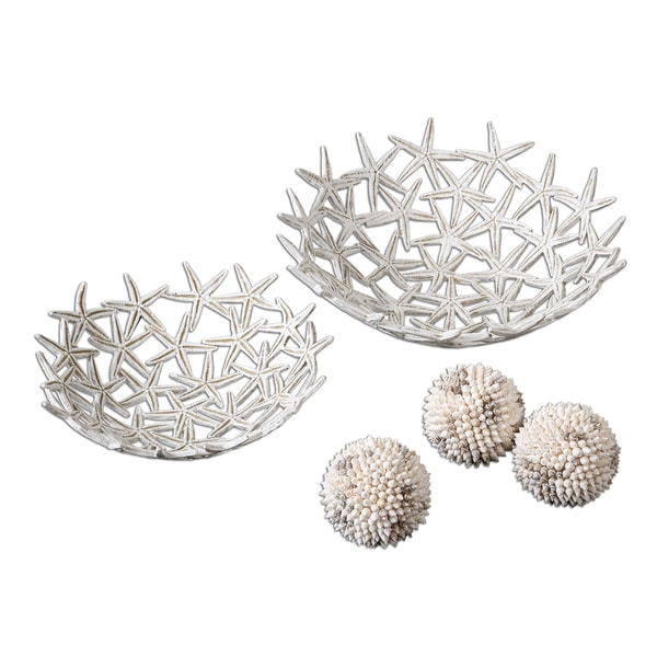 Uttermost Decorative Starfish Bowls with Spheres (Set of 5)
