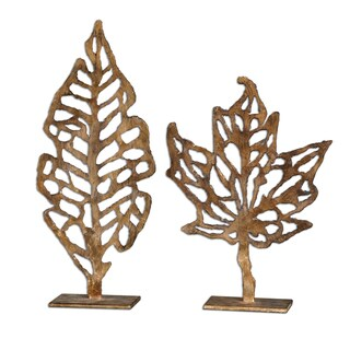 Uttermost 'Hazuki' Decorative Metal Leaf Sculptures (Set of Two)