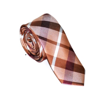 Skinny Tie Madness Men's Brown Plaid Skinny Tie