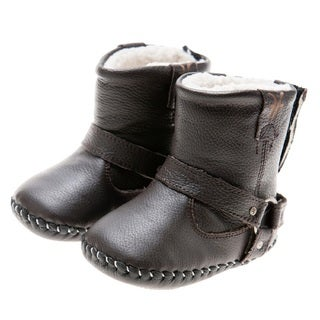 Little Blue Lamb Handmade Brown Natural Leather Walking Boots
