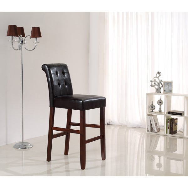 WYNDENHALL Essex 29-inch Deluxe Tufted Faux Leather Bar Stools (Pack of 2)