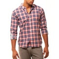 191 Unlimited Men's Slim Fit Red Plaid Shirt