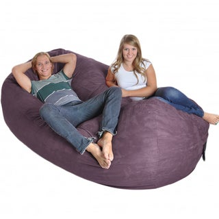 Purple 8-foot Oval Microfiber/ Foam Bean Bag