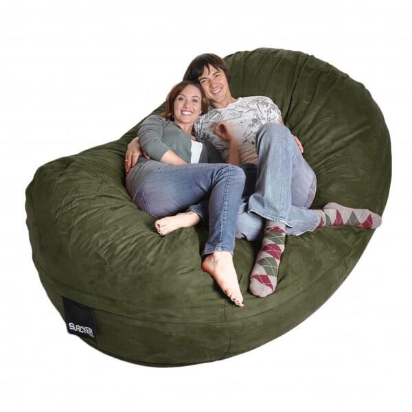Eight-foot Olive Green Oval Microfiber/ Foam Bean Bag