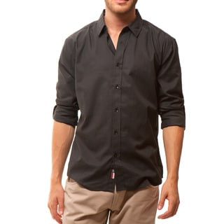 191 Unlimited Men's Slim Fit Black Solid Shirt