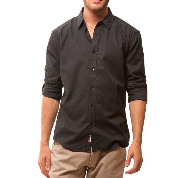 191 Unlimited Men's Slim Fit Black Solid Shirt