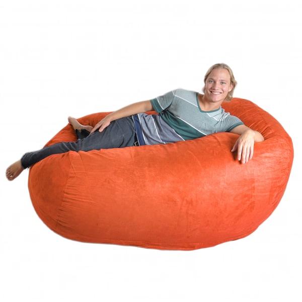 Six-foot Pumpkin Oval Microfiber/ Foam Bean Bag
