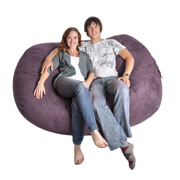 Purple Oval 6-foot Microfiber/ Foam Bean Bag