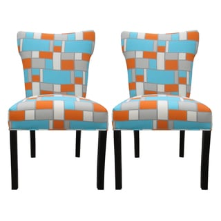 Bella Hopscotch Orange/ Blue Upholstered Dining Chairs (Set of 2)
