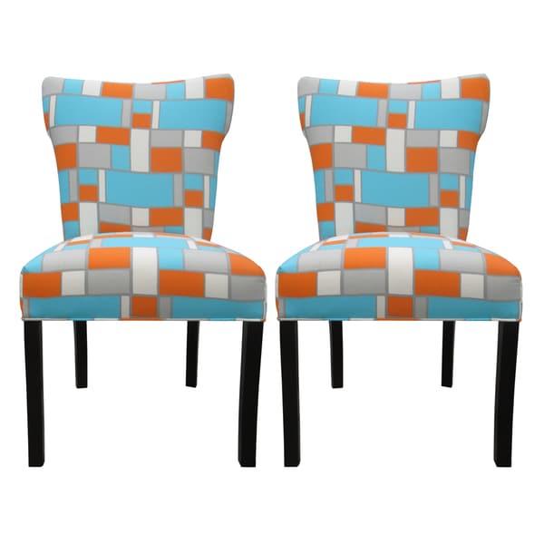 Bella Hopscotch Orange/ Blue Upholstered Dining Chairs (Set of 2)