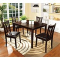 Furniture of America Calipso 5-piece Walnut Dining Set