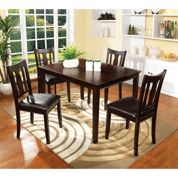 Furniture of America Calipso 5-piece Walnut Dining Set