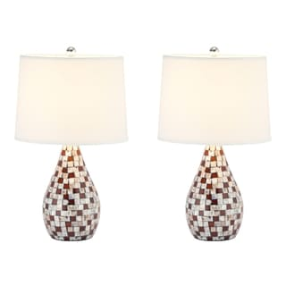 Indoor 1-light Mother of Pearl Brown Table Lamps (Set of 2)