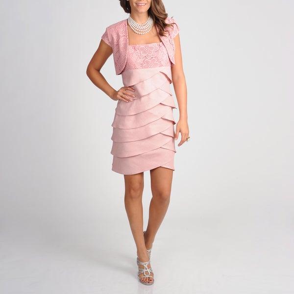 S.L. Fashions Women's Lace Detail Jacket Dress