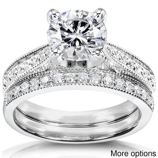 14k White Gold Moissanite and 1/3ct TDW Round-cut Diamond Bridal Ring Set (G-H, I1-I2)
