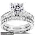 14k Gold Moissanite and 1/3ct TDW Diamond Bridal Ring Set (G-H, I1-I2)