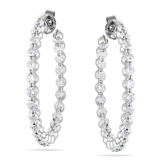 Miadora 14k White Gold 3ct TDW Diamond Hoop Earrings (G-H, SI1-SI2)