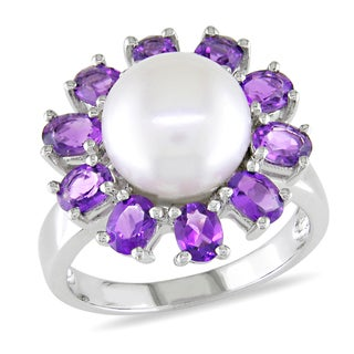 Miadora Signature Collection 14k White Gold Cultured Freshwater Pearl and Amethyst Flower Ring (9.5-10 mm)