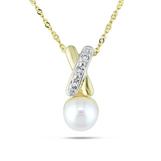 Miadora 14k Yellow Gold Cultured Freshwater Pearl and Diamond Necklace (H-I, I2-I3) (5.5-6 mm)