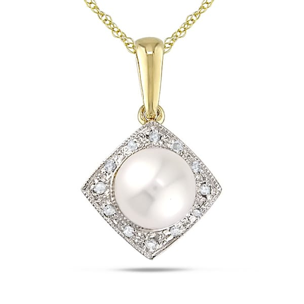 Miadora 10k Yellow Gold Cultured Freshwater Pearl and Diamond Necklace (7.5-8 mm)