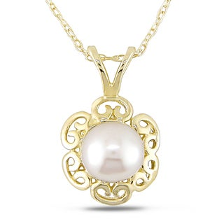 Miadora 10k Yellow Gold White Cultured Freshwater Pearl Flower Necklace (6-6.5 mm)