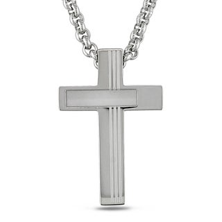Miadora Stainless Steel Men's Cross Necklace