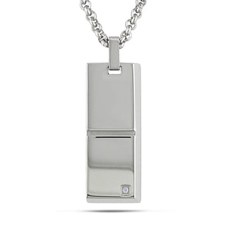 Miadora Stainless Steel Men's Cubic Zirconia Necklace