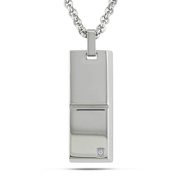 M by Miadora Stainless Steel Men's Cubic Zirconia Necklace