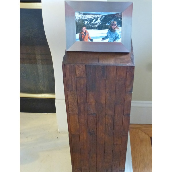 24-Inch Reclaimed Teak Wood Checkered Accent Table (Thailand)
