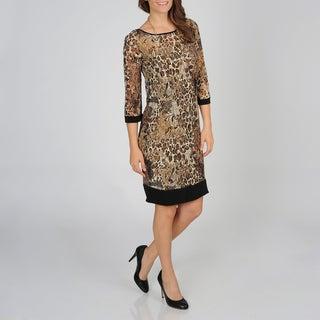 Lennie for Nina Leonard Women's Animal Mesh Dress