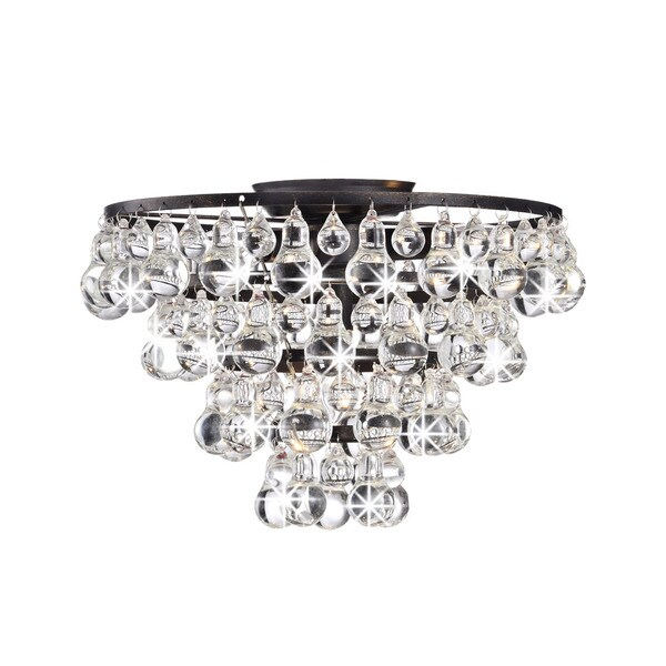 Tranquil Crystal and Bubble Flush-mount Chandelier