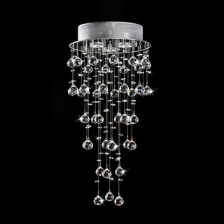 Floating Crystals and Chrome Flush-mount Chandelier