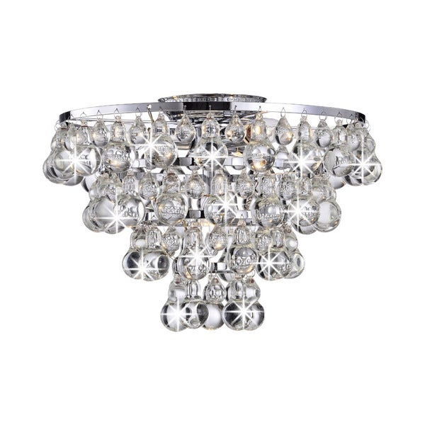 Tranquil Crystal Bubble and Chrome Flush-mount Chandelier