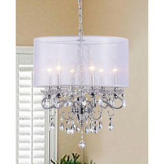 Allured Crystal Chandelier with White Fabric Shade
