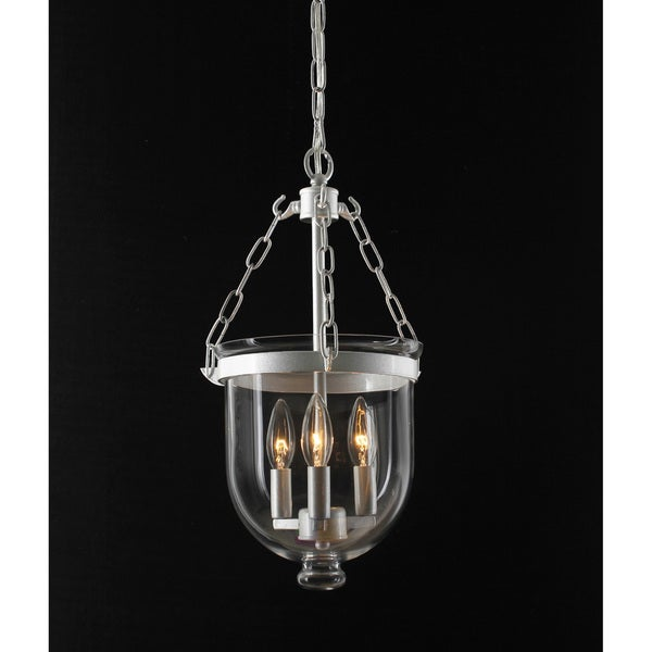Bell Jar Satin Nickel Lantern Chandelier