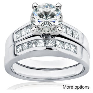 14k Gold Moissanite and 3/5ct TDW Diamond Bridal Ring Set (H-I, I1-I2)