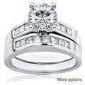 Annello 14k Gold Moissanite and 3/5ct TDW Diamond Bridal Ring Set (H-I, I1-I2)