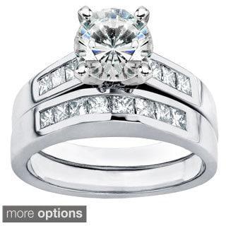 Annello 14k Gold Moissanite and 3/5ct TDW Diamond Bridal Ring Set (H-I, I1-I2) with Bonus Item